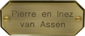 Messing Naambord (bronskleurig) 11 x 4,5 cm artnr. 9026