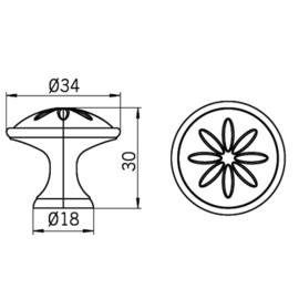 Knop Carlijn 34 mm tin