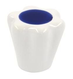 Knop Geertje wit/blauw porselein 28 mm