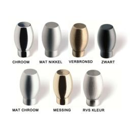 Knop Merel: 15 mm chroom,mat chroom, nikkel,mat nikkel, brons, rvs, zwart