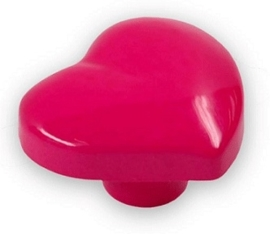 Knop Jeltje 36 mm roze hartvorm