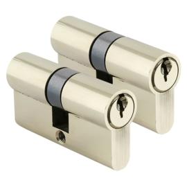 Cilinder Gelijksluitend Messing anti-boor  2 stuks 30/30