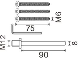 knop/kruk Stift 90 mm  met 1 set schroeven 75 mm  Deurdikte 42mm en dikker