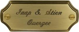 Messing Naambord (bronskleurig) 10,5 x 4 cm artnr. 9024
