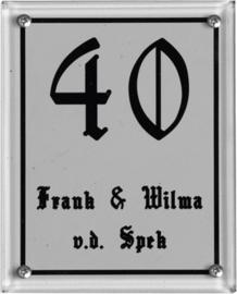 Glaslook naambord met huiscijfer 12x15 cm 3123/3113/3103