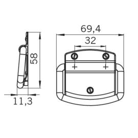 Koffergreep Brad 44 mm/69 mm antiek messing
