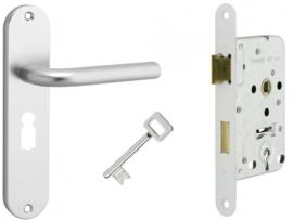 Dag - Nachtslot met deurkrukset aluminium Berto
