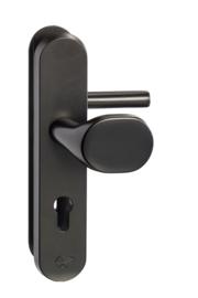 SKG Deurknop/kruk 55/72 mm cilinder zwart ovaal