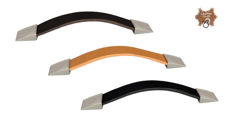 Kast Handgreep Leder/mat nikkel Zwart,Bruin en Beige recht