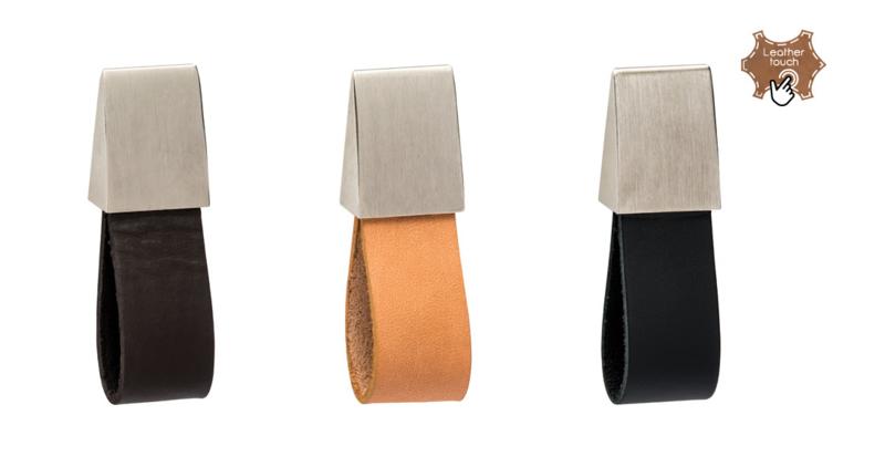 Kast Handgreep Leder/mat nikkel recht Zwart,Bruin en Beige