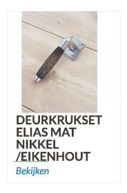 Deurkrukset mat nikkel met eikenhout/ebbenhout krukheft.