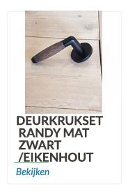 Deurkrukset mat zwart met eikenhout/ebbenhout krukheft