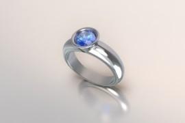 Zilveren solitair met een ronde kast en saffier synth (licht blauwe) Swarovski zirkonia 1403003