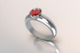 Zilveren solitair met een ronde kast en een robijn synth (rode) Swarovski zirkonia 1403003