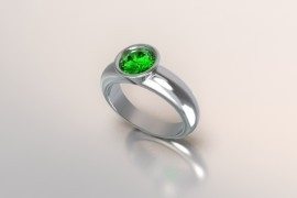 Zilveren solitair een met ronde kast en smaragd synth (groene) Swarovski zirkonia 1403003