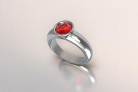 Zilveren solitair met een ronde kast en robijn synth (rode) Swarovski zirkonia 1403003