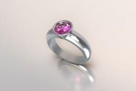 Zilveren solitair met een ronde kast en een roze Swarovski zirkonia 1403003