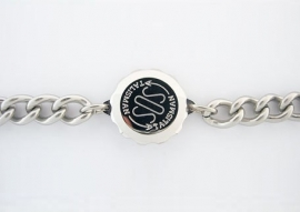 Brede gourmet-armband met S.O.S talisman