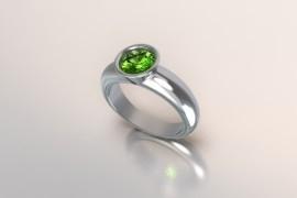Zilveren solitair met een ronde kast en periodot (licht groene) Swarovski zirkonia 1403003