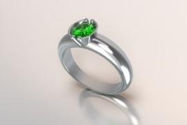 Zilveren solitair met een ronde kast en een smaragd synth (groene) Swarovski zirkonia 1403003