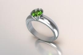 Zilveren solitair met een ronde kast en een periodot (licht groene) Swarovski zirkonia 1403003
