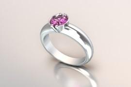 Witgouden 14k solitair met een ronde kast en een roze kleur Swarovski zirkonia 1403003