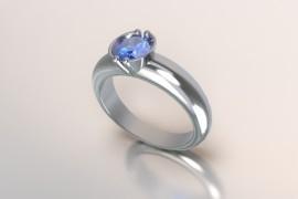 Zilveren solitair met een ronde kast en een saffier synth (licht blauwe) Swarovski zirkonia 1403003