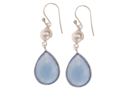 Blue Chalcedony|| White pearl Silver