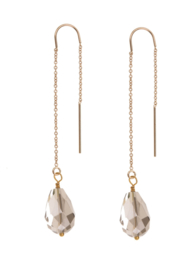 Chain Earring Smokey Quartz goldfilled