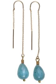 Chain Earring Turqoise Jade