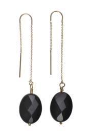 Chain Earring Black onyx oval