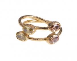 Ring Nefertiti Citrine & Amber handmade