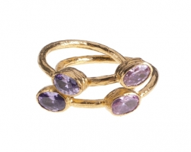 Ring Nefertiti Amethyst en Rose Quartz handmade
