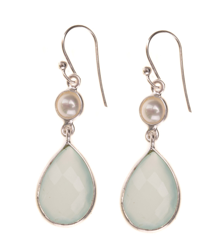Green Chalcedony || White pearl Silver small