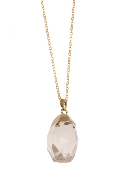 FACETED Chrystal /Goldplated necklace