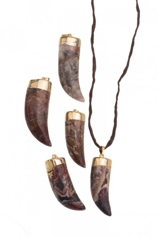 Vergulde hanger Horn Agate