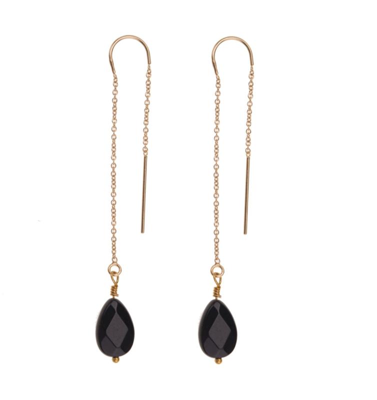 Chain Earring Black Onyx