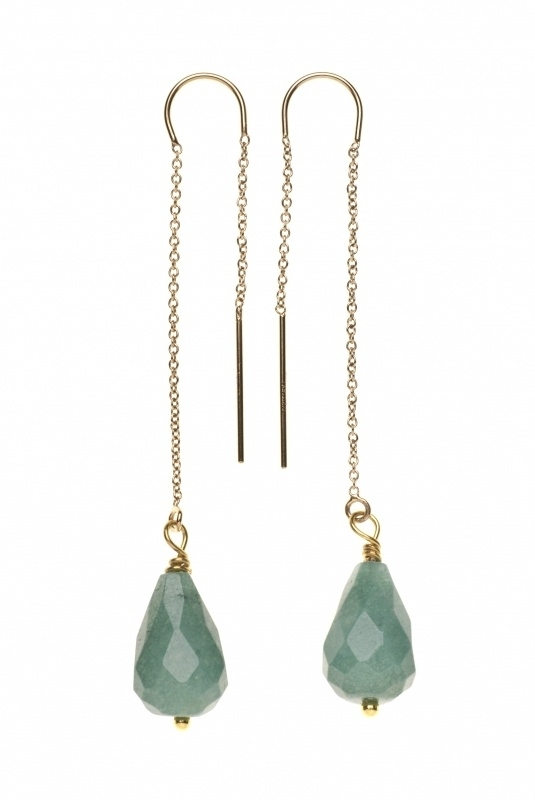 Chain Earring  Green  jade