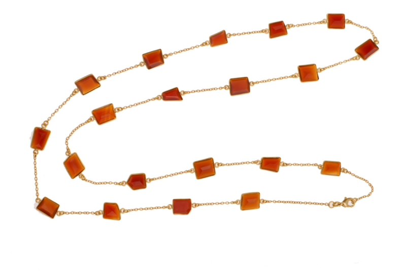 Long Necklace Natural Carnelian