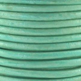 Leer rond 3 mm Metallic poeder groen