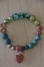 armband turquoise/groen, hart