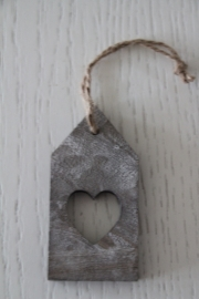 Hanger label hart, grijs