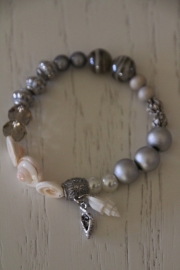 armband beach zilver, schelpjes