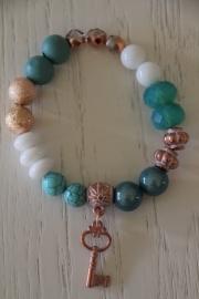 armband turquoise/wit, sleutel