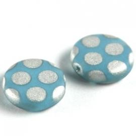 kraal rond plat blauw/zilver stippen