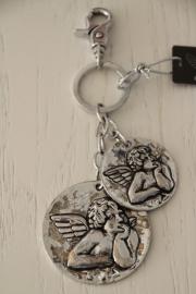 Zilverkleurige sleutel-/tashanger, engel