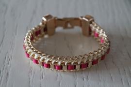 armband roze/wit
