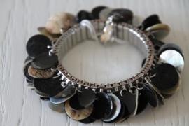 armband zwart/beige parelmoer
