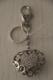 Zilverkleurige sleutel-/tashanger, hart
