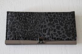 portemonnee slangenprint zwart/grijs